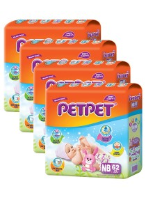 PETPET Tape Diaper Jumbo Packs NB62 (4packs)