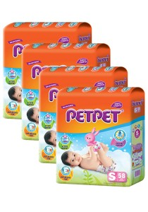 PETPET Tape Diaper Jumbo Packs S58 (4packs)