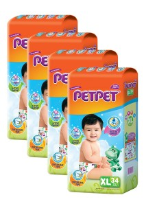 PETPET Tape Diaper Jumbo Packs XL34 (4packs)