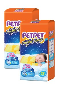 PETPET Night Tape Diaper Jumbo Packs L32 (2packs)