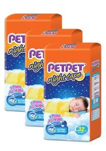 PETPET Night Tape Diaper Jumbo Packs L32 (3 packs)