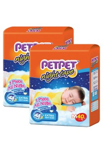 PETPET Night Tape Diaper Jumbo Packs M40 (2packs)