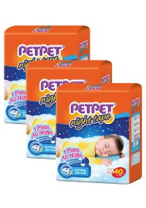PETPET Night Tape Diaper Jumbo Packs M40 (3 packs)