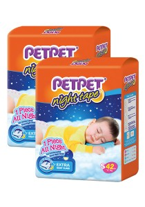 PETPET Night Tape Diaper Jumbo Packs S42 (2packs)