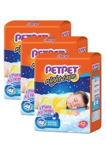 PETPET Night Tape Diaper Jumbo Packs S42 (3 packs)