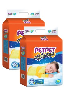 PETPET Night Tape Diaper Mega Packs L50 (2 packs)