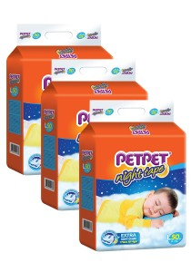 PETPET Night Tape Diaper Mega Packs L50 (3 packs)