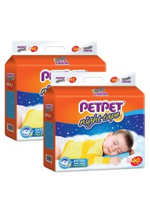 PETPET Night Tape Diaper Mega Packs M60 (2 packs)