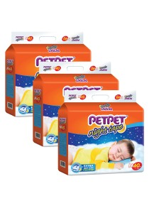 PETPET Night Tape Diaper Mega Packs M60 (3 packs)