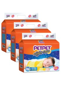 PETPET Night Tape Diaper Mega Packs S66 (3 packs)