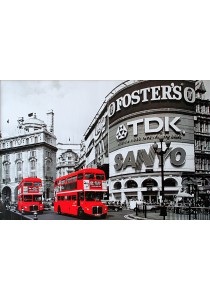 Piccadilly Circus with London Red Buses - Pyramid International Poster (61 cm X 91.5 cm)