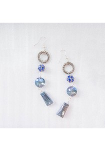 Pace Blue Crystal Silver Earring Handmade by Shirleen Jeweliciouss