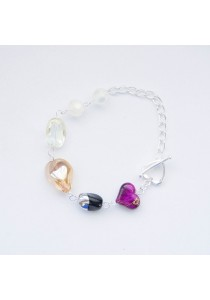 Pitch the Peach Crystal Silver Bracelet Handmade by Shirleen Jeweliciouss