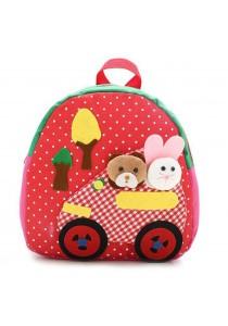 Kids Lovely Zoo Cute Kindergarden Backpack (Red)