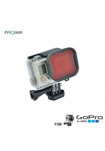Proocam Pro-F089 Underwater Dive Red Snap-on Filter Lens for Gopro 3/4