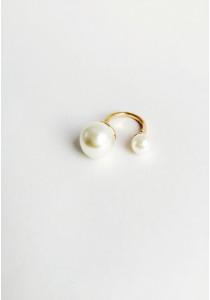 G. Twin Faux Pearl Open Ring