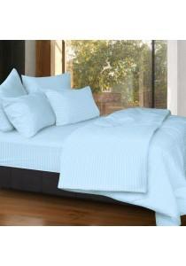 Cozzi Rainbow Microfiber Plush Fitted Bedsheet set with Comforter Blue - Super Single