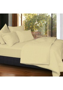 Cozzi Rainbow Microfiber Plush Fitted Bedsheet set with Comforter Brown - Super Single