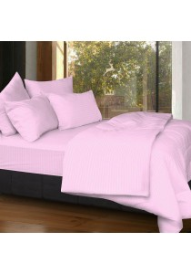 Cozzi Rainbow Microfiber Plush Fitted Bedsheet set with Comforter Pink - King