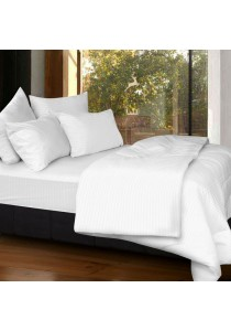 Cozzi Rainbow Microfiber Plush Fitted Bedsheet set with Comforter White - Queen