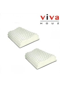 Viva Houz Rubber Foam Pillow (Contour With Massage) - Set of 2