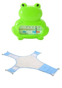 Baby Bath Thermometer Cum Baby Shower Net - BKM04 (Green Frog)+BSN (Blue)