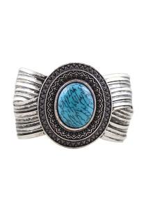 Vintage Silver & Blue Color Stone Alloy Bracelet 6.2cm - BC154 (Blue)