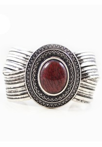 Vintage Silver & Red Color Stone Alloy Bracelet 6.2cm - BC154 (Red)