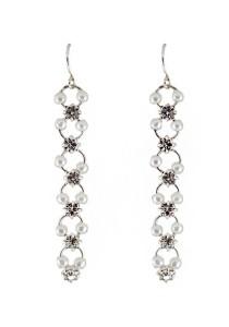 Silver Color & White Beaded Alloy Earrings 6.3cm - ER216