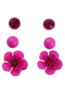 3 Pairs Rose Red Color Flower Alloy Earrings 2.1cm - ER217 (Rose Red)