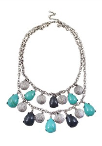 Silver & Gray-Blue Drops Shape Multilayer Alloy Necklace 43cm - NL338