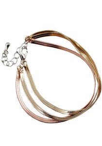 Gold & Copper Color Multilayer Alloy Bracelet 14cm - BC168