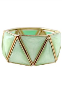 Light Green Color Triangle Shape Alloy Bracelet 5.3cm - BC174