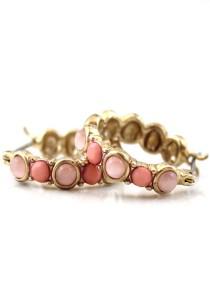 Gold & Pink Color Round Shape Alloy Earrings 1.3cm - ER222