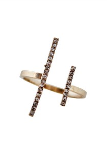 Gold Color Parallel Lines Flash Diamond Alloy Ring - R14 Gold