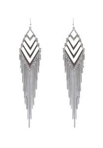 Silver Color Arrow Alloy Tassel Earrings 12cm - ER211