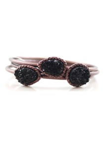 Dark Copper & Black Color Stone Multilayer Alloy Bracelet 6.7cm - BC177