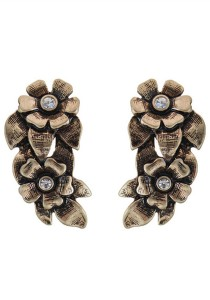 Vintage Gold Color Flower Alloy Earrings 3cm - ER226