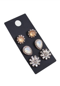 3 Pair Multicolor Flower-Droplets Alloy Earrings 2.2cm - ER229