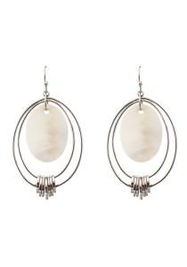 White Gold & White Color Shell Oval Shape Alloy Earrings 5.5cm - ER230