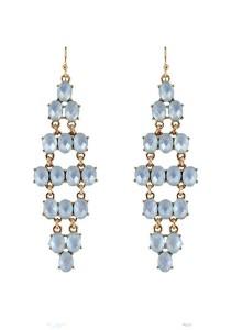 Gold & Light Blue Color MeshShape Alloy Earrings 8cm - ER237