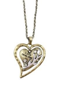 Vintage Gold Color Heart-Shape Pendant Alloy Necklace 68cm - NL360