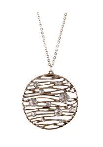 Vintage Gold Color Hollow Round Shape Pendant Alloy Necklace 42cm - NL367