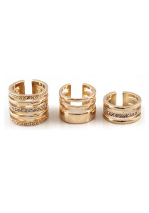 3 Piece Gold Color Flash Diamond Alloy Ring - R17