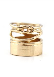 Gold Color Hollow Alloy Ring 1.7cm - R19
