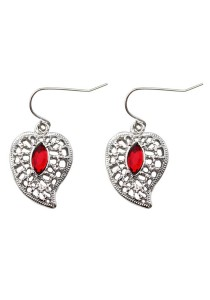 Silver & Red Color Leaves Heart-Shaped Alloy Earrings 3.3cm - ER240