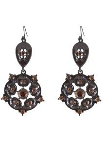 Dark Brown Color Hollow Tassel Alloy Earrings 7.2cm - ER241