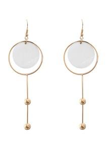 Gold & White Color Shell Alloy Earrings 9.8cm - ER248
