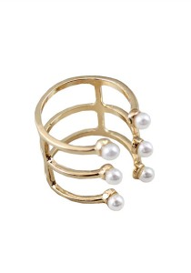 Gold Color White Beads Alloy Ring - R20