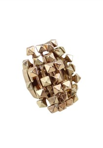 Gold Color Pyramidal Geometric Alloy Stretch Ring 1.7cm - R21